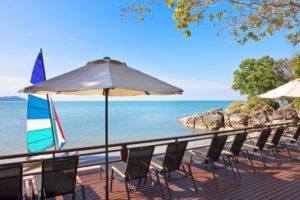 Beach view from hotel veranda